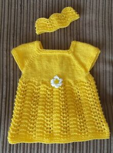 Hand knitted baby dress and headband, lemon, age 0-3 months.