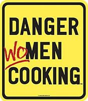 Danger Women Cooking enamelled steel fridge magnet (ar) REDUCED TO CLEAR