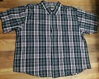 Great Northwest Mens Short Sleeve Red Navy White Plaid Button Down Shirt Size 4X