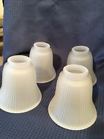 Vintage Frosted Glass Lamp Shades Fan Set Of 4 Ribbed