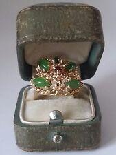 ESTATE VINTAGE 14K YELLOW GOLD JADE RING, Size 5.75, 8.4 grams