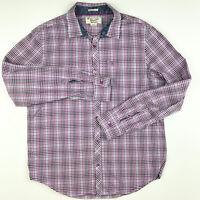 Penguin Munsingwear Mens Shirt Large Pink Purple White Check Heritage Slim Fit