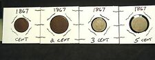 1867 Type Set - 1c, 2c, 3c & 5c