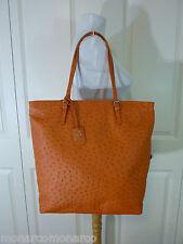 NWT FURLA Mandarin Orange Ostrich Embossed  Leather NS D-light Tote Bag $378
