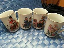 Norman Rockwell Set of 4 Coffee Tea Mug Cup 1982 and Furio Coffee Cup Stand