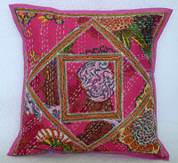 "Floral 16"" Indian Handmade Cotton Kantha Style Cushion Cover Ethnic Decor India"