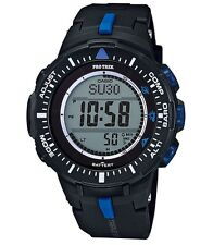 Casio Pro Trek * PRG300-1A2 Triple Sensor Ver.3 Tough Solar Black w/ Blue
