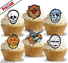 PRE-CUT HALLOWEEN CHARACTER FACES EDIBLE WAFER PAPER CUP CAKE TOPPER DECORATIONS