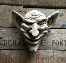 Stoneware Garden Statue Ornament Sculpture Gargoyle Goblin Face Wall Plaque 20cm