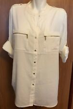 Calvin Klein Women Blouse White XL XLarge New NWT Button Down Roll Up Sleeve