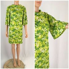 Vintage 70s Mini Dress Mod Hippie Bell Sleeve Floral Gogo Scooter Sacony XS