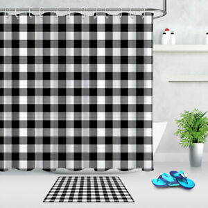Vintage Black and White Checked Plaid Pattern Shower Curtain Bathroom Decor 72""