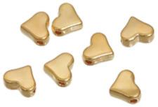 120 Stück Metallperle 7x6mm Herz goldoptik Zwischenperlen Spacer Beads
