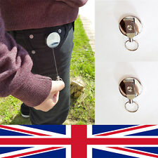 New Stainless Silver Retractable Key Chain Recoil Key ring Heavy Duty Steel UK