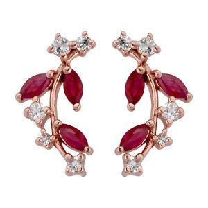 10k Rose Gold Genuine Ruby and White Topaz Crescent Earrings