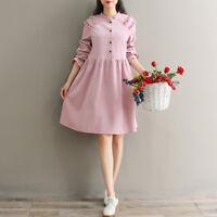 Women Preppy Style Corduroy Pure Color Long Sleeve Elegant Dress