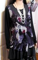 LADIES BLACK MAUVE FLORAL WARWICK JONES LONG SLEEVED TOP SIZE 12
