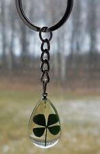 Real Four Leaf Clover Key Chain Key Ring 4 Leaf Clover Shamrock Irish