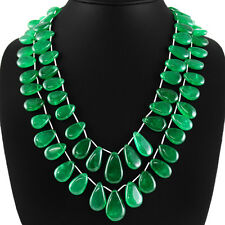 645.35 CTS EARTH MINED RICH GREEN EMERALD 2 LINE PEAR SHAPED BEADS NECKLACE