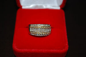 Ladies LeVian 14K White Gold Yellow Gold wide Diamond band Ring size 6.75 - 7.0