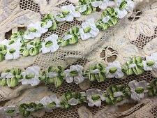 "VINTAGE FRENCH ROCOCO Florettes TRIM RIBBON 1yd 3/8"" White Green"