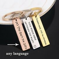 Stainless Steel Keychain Personalized Custom Engraved Letter Name Date Gifts
