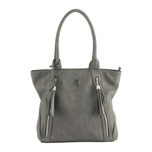 Browning Concealed Carry Purse, CCW Gun Handbag Gray Faux Leather Alexandria