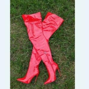 Ladies Over Knee High Thigh Boots 12cm Stiletto Heel Pointed Toe Party Shoes New
