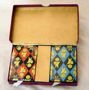 Vintage 1950s Mr Therm Thomas De La Rue Playing Cards In Vintage Leather Box