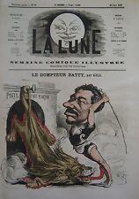 CIRQUE DOMPTEUR LIONS BATTY CARICATURE de GILL JOURNAL SATIRIQUE LA LUNE 1867