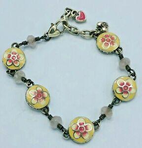 Brighton Peachy Pink Enamel Flower with Pink Stones Reversible Bracelet