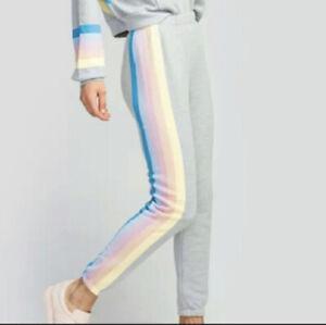 Wildfox Sz XS Gray Spectrum Rainbow Stripe Joggers EUC Sweatpants Womens