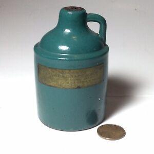 Vtg UHL Pottery Miniature Jug-Meiers Catawba Grape Juice-Teal Green UHL
