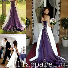 Purple and white Embroidery A-Line Wedding Dresses Bridal Gown Custom all size