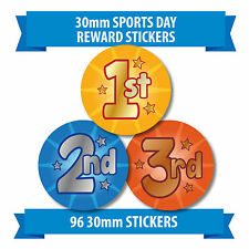 "96 30mm ""SPORTS DAY"" children reward stickers 1st 2nd 3rd"