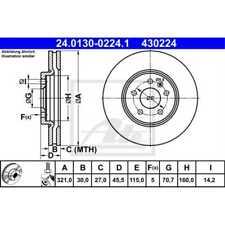 ATE 2x Bremsscheiben belüftet beschichtet 24.0130-0224.1