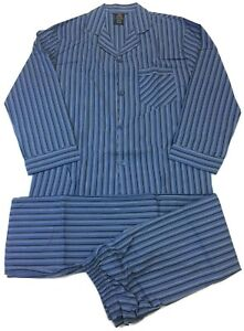Hanes Mens Blue Striped Woven Cotton Blend Coat Style Long Sleeve Pajamas Size S