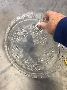 """Mikasa Holiday Party Glass Cake Plate Floral Design 13.5"""" Across"""