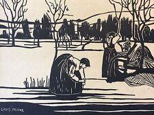 Estampe en bois gravé contresigné Louis Frank
