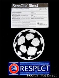 Official Champions League Starball + Respect Football Shirt Patch/Badge