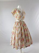 Vintage Cotton Tea Dress Midi WW2 Sweetheart 40s Gauze Floral Uk 14