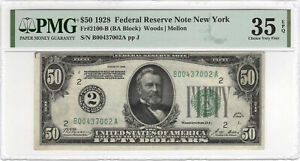 $50 1928 Federal Reserve Note New York PMG 35 EPQ FR#2100-B