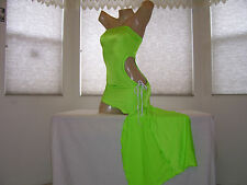 NEW Stripper Exotic Dancer Neon Green Ruched Cutout Salsa Dress S/M Stripperwear