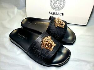 New Black Gold Versace Medusa Palazzo Sandals Slides Shoes Size 9 9.5