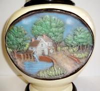 Vintage 1975 Hershey Molds Ceramic Water Mill Lidded Urn Jar Vase Hand Painted
