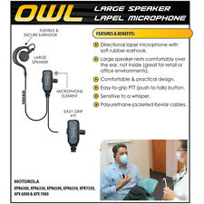 OWL Lapel Mic Earpiece for Motorola XPR6380 Radios XPR6350 XPR6550 (See List)