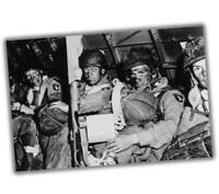 """War Photo US paratroopers just before taking off for Overlord WW2 """"4 x 6"""" inch S"""
