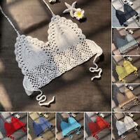 Women Crochet Lace Bralette Knit Hollowed Boho Beach Bikini Halter Tank Crop Top
