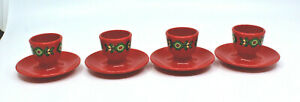 Emsa Red Egg Cups Stand Holder Green Flowers Plastic West Germany Set of 4 AS-IS