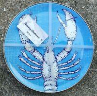 X4 Tommy Bahama Melamine Lobster Metal Trim Salad Plate Blue White Coastal New